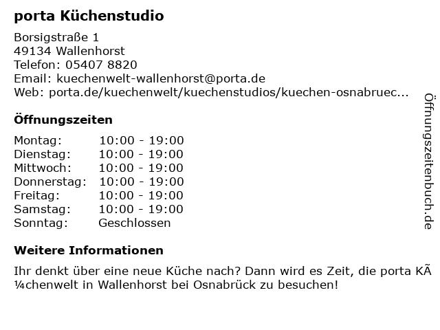 ᐅ öffnungszeiten Porta Möbel Borsigstraße 1 In Wallenhorst