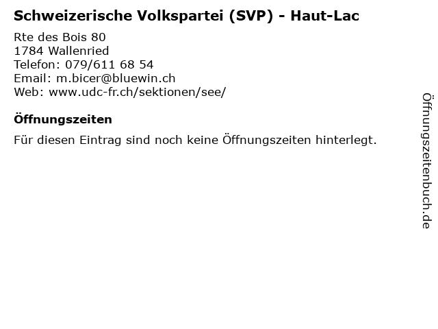 Schweizerische Volkspartei (SVP) - Haut-Lac in Wallenried: Adresse und Öffnungszeiten