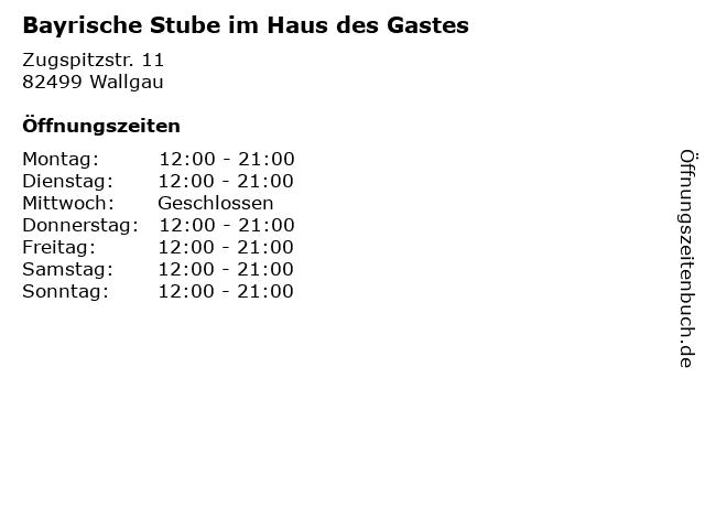 Bayrische Stube im Haus des Gastes in Wallgau: Adresse und Öffnungszeiten