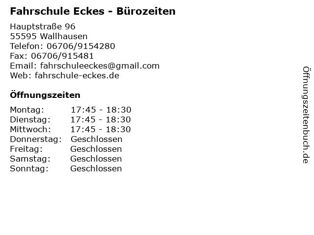 Fahrschule Eckes - Bürozeiten in Wallhausen: Adresse und Öffnungszeiten