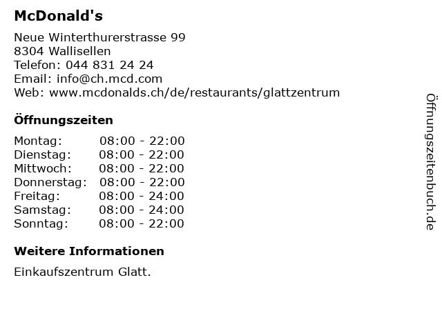 McDonald's in Wallisellen: Adresse und Öffnungszeiten