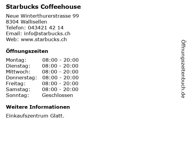 Starbucks Coffee in Wallisellen: Adresse und Öffnungszeiten