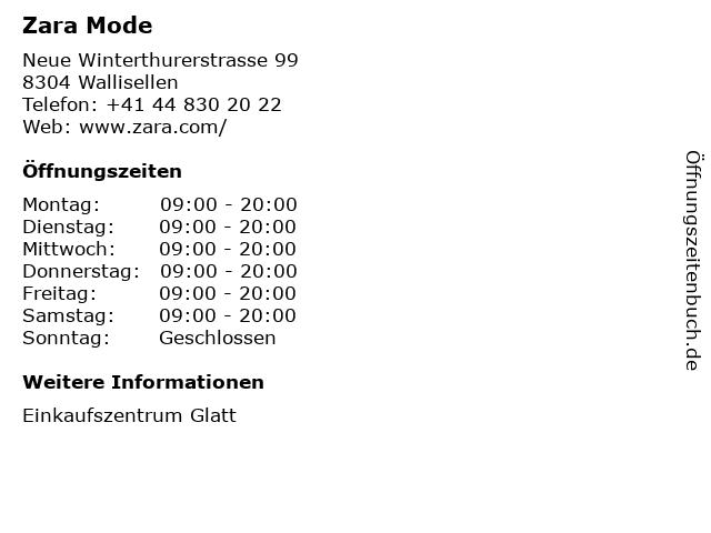 Zara (Einkaufszentrum Glatt) in Wallisellen: Adresse und Öffnungszeiten