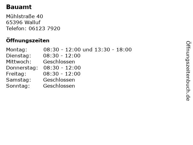 Bauamt in Walluf: Adresse und Öffnungszeiten