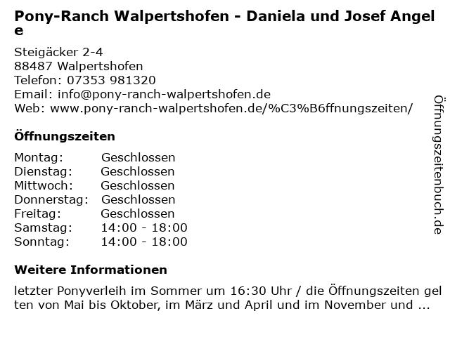 Pony-Ranch Walpertshofen - Daniela und Josef Angele in Walpertshofen: Adresse und Öffnungszeiten