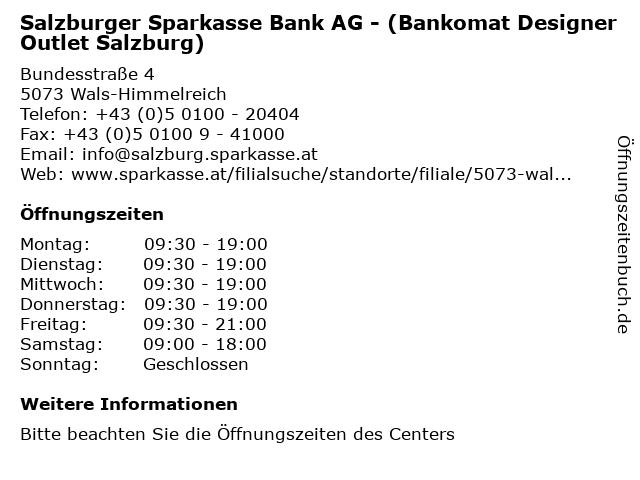 ᐅ öffnungszeiten Salzburger Sparkasse Bank Ag Bankomat Designer