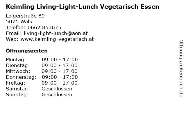 Keimling Living-Light-Lunch Vegetarisch Essen in Wals: Adresse und Öffnungszeiten