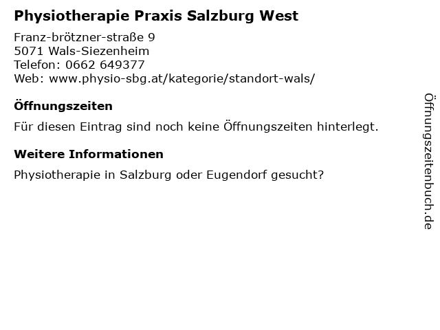 Physiotherapie Praxis Salzburg West in Wals-Siezenheim: Adresse und Öffnungszeiten