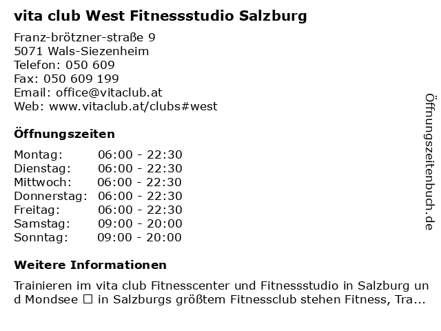 vita club West Fitnessstudio Salzburg in Wals-Siezenheim: Adresse und Öffnungszeiten