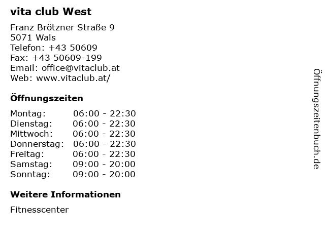 vita club West in Wals: Adresse und Öffnungszeiten