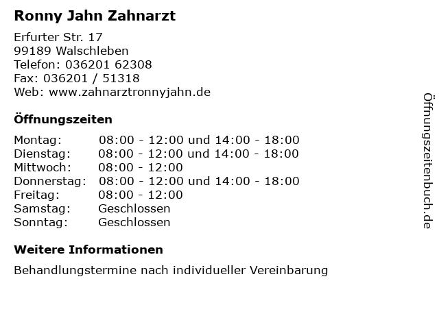 Ronny Jahn Zahnarzt in Walschleben: Adresse und Öffnungszeiten