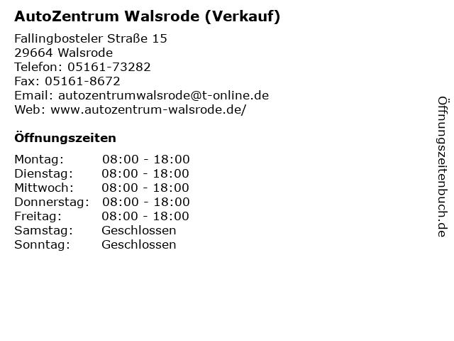 AutoZentrum Walsrode (Verkauf) in Walsrode: Adresse und Öffnungszeiten
