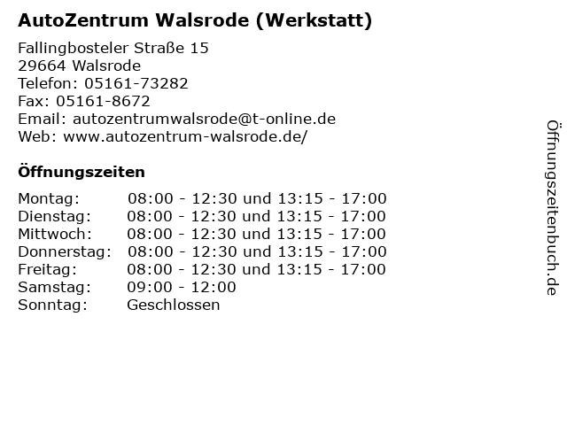 AutoZentrum Walsrode (Werkstatt) in Walsrode: Adresse und Öffnungszeiten