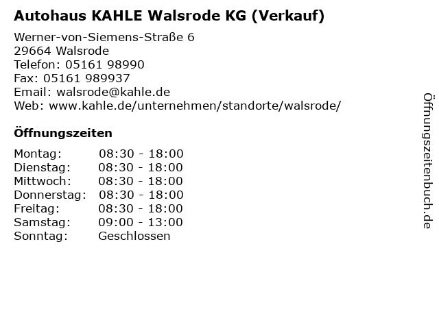 Autohaus KAHLE Walsrode KG (Verkauf) in Walsrode: Adresse und Öffnungszeiten