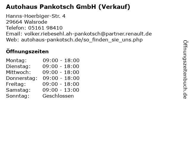 Autohaus Pankotsch GmbH (Verkauf) in Walsrode: Adresse und Öffnungszeiten