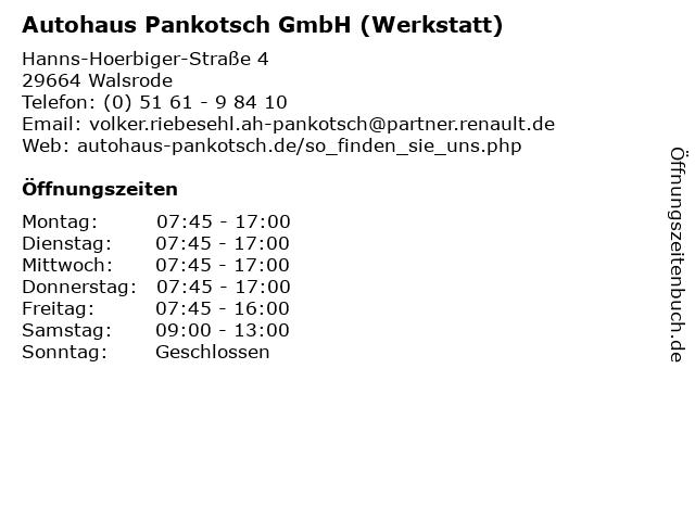 Autohaus Pankotsch GmbH (Werkstatt) in Walsrode: Adresse und Öffnungszeiten