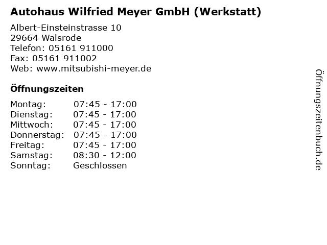 Autohaus Wilfried Meyer GmbH (Werkstatt) in Walsrode: Adresse und Öffnungszeiten