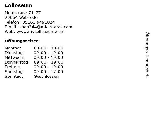 Colloseum in Walsrode: Adresse und Öffnungszeiten