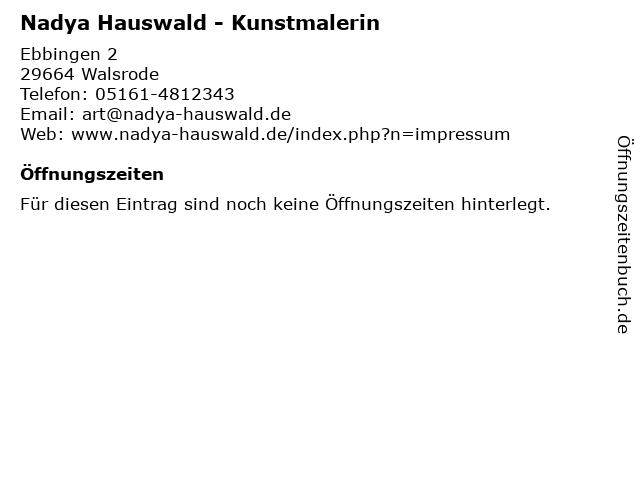 Nadya Hauswald - Kunstmalerin in Walsrode: Adresse und Öffnungszeiten