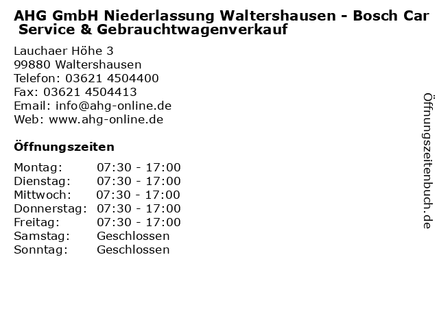 AHG GmbH Niederlassung Waltershausen - Bosch Car Service & Gebrauchtwagenverkauf in Waltershausen: Adresse und Öffnungszeiten