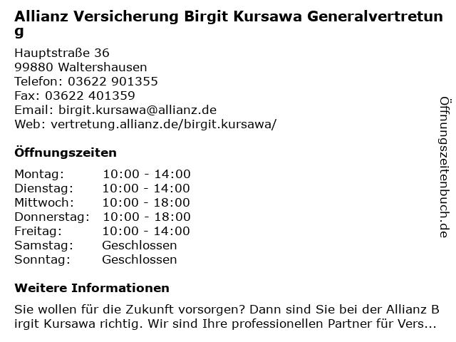 Allianz Birgit Kursawa in Waltershausen: Adresse und Öffnungszeiten