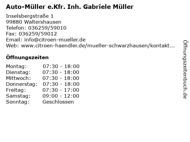 Auto-Müller e.Kfr. Inh. Gabriele Müller in Waltershausen: Adresse und Öffnungszeiten