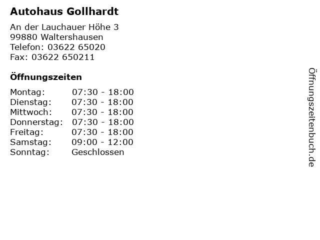 Autohaus Gollhardt in Waltershausen: Adresse und Öffnungszeiten