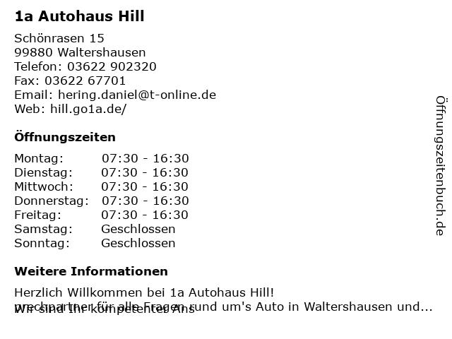 Autohaus Klaus Hill in Waltershausen: Adresse und Öffnungszeiten