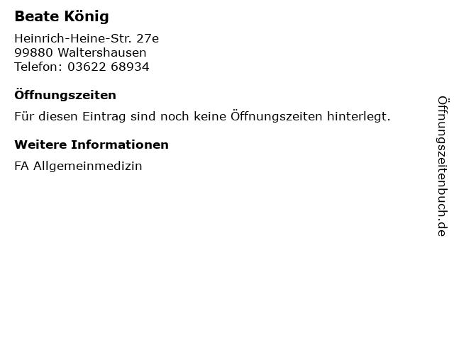 Beate König in Waltershausen: Adresse und Öffnungszeiten