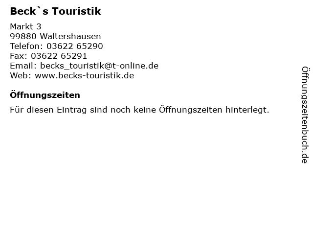 Beck`s Touristik in Waltershausen: Adresse und Öffnungszeiten