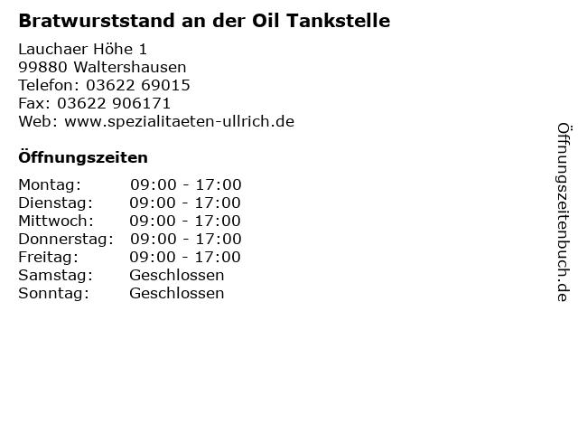 Bratwurststand an der Oil Tankstelle in Waltershausen: Adresse und Öffnungszeiten