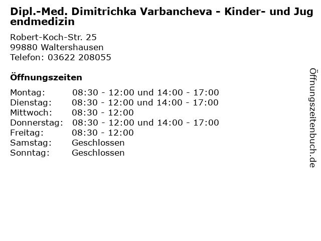 Dipl.-Med. Dimitrichka Varbancheva - Kinder- und Jugendmedizin in Waltershausen: Adresse und Öffnungszeiten