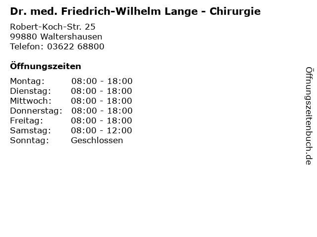 Dr. med. Friedrich-Wilhelm Lange - Chirurgie in Waltershausen: Adresse und Öffnungszeiten