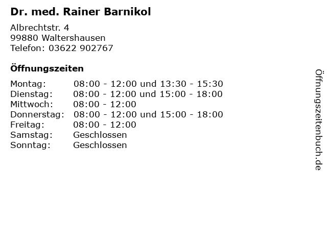 Dr. med. Rainer Barnikol in Waltershausen: Adresse und Öffnungszeiten