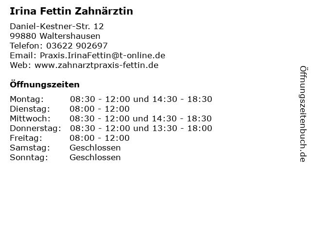 Irina Fettin Zahnärztin in Waltershausen: Adresse und Öffnungszeiten