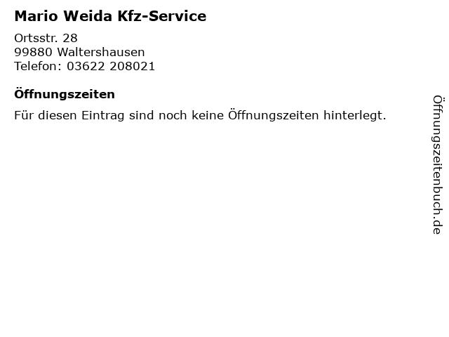 Mario Weida Kfz-Service in Waltershausen: Adresse und Öffnungszeiten