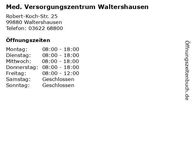 Med. Versorgungszentrum Waltershausen in Waltershausen: Adresse und Öffnungszeiten