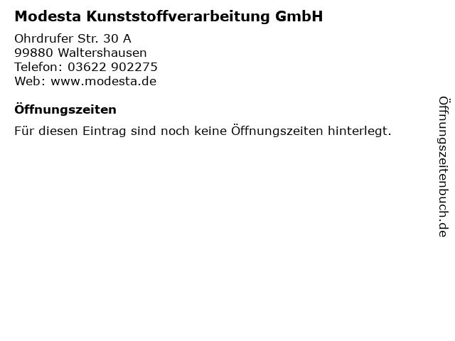 Modesta Kunststoffverarbeitung GmbH in Waltershausen: Adresse und Öffnungszeiten