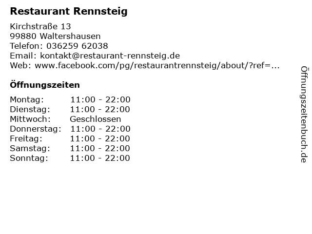 Restaurant Rennsteig in Waltershausen: Adresse und Öffnungszeiten