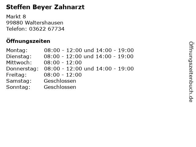 Steffen Beyer Zahnarzt in Waltershausen: Adresse und Öffnungszeiten
