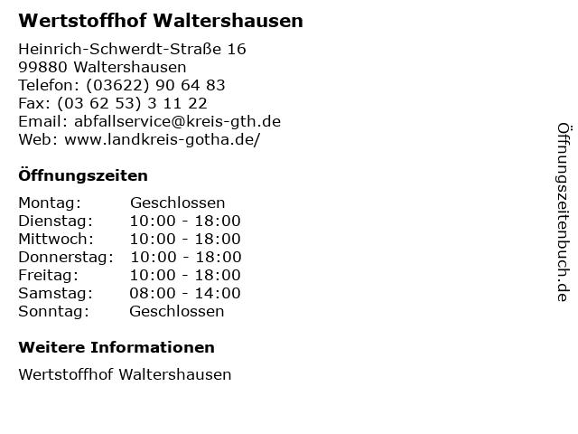 Wertstoffhof Waltershausen in Waltershausen: Adresse und Öffnungszeiten