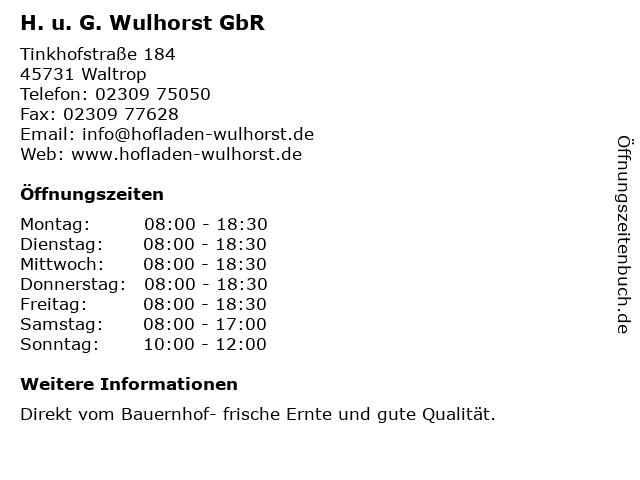 H. u. G. Wulhorst GbR in Waltrop: Adresse und Öffnungszeiten