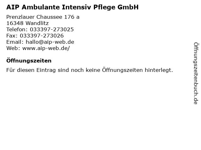 AIP Ambulante Intensiv Pflege GmbH in Wandlitz: Adresse und Öffnungszeiten