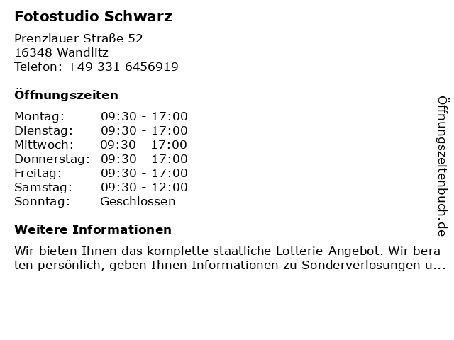 Fotostudio in Wandlitz: Adresse und Öffnungszeiten