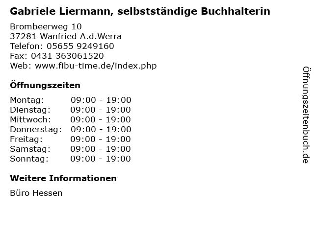 Gabriele Liermann, selbstständige Buchhalterin in Wanfried A.d.Werra: Adresse und Öffnungszeiten