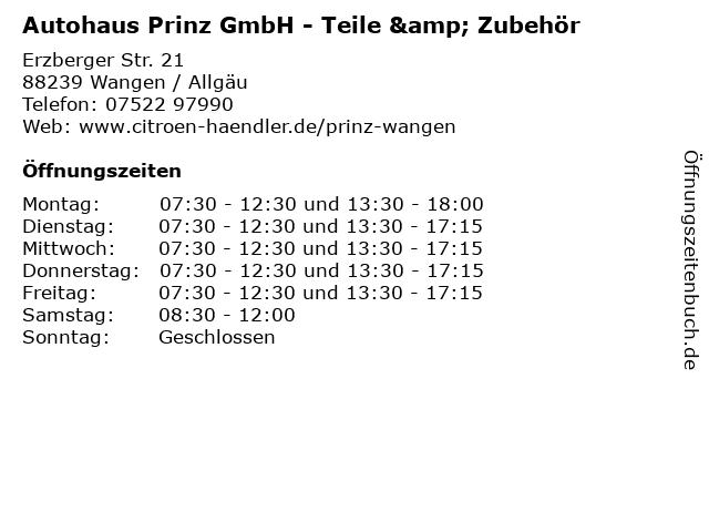 Autohaus Prinz GmbH - Teile & Zubehör in Wangen / Allgäu: Adresse und Öffnungszeiten