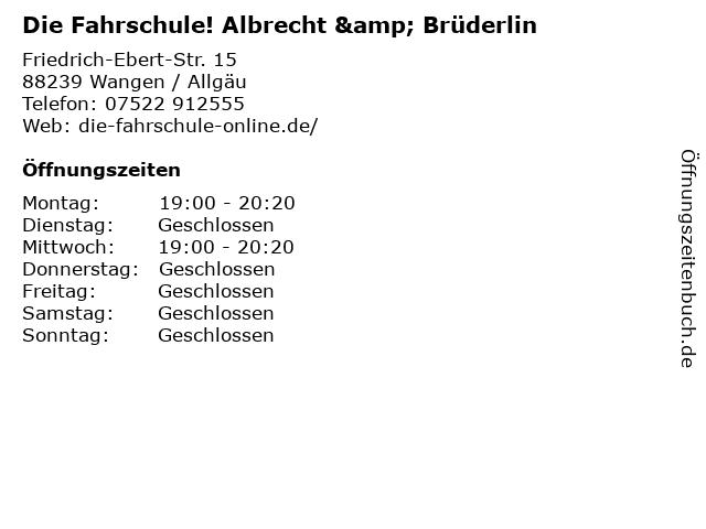 Die Fahrschule! Albrecht & Brüderlin in Wangen / Allgäu: Adresse und Öffnungszeiten