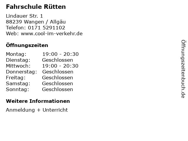 Fahrschule Rütten in Wangen / Allgäu: Adresse und Öffnungszeiten