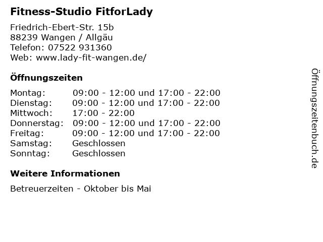 Fitness-Studio FitforLady in Wangen / Allgäu: Adresse und Öffnungszeiten