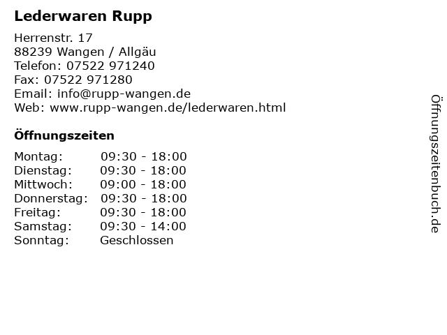 Lederwaren Rupp in Wangen / Allgäu: Adresse und Öffnungszeiten